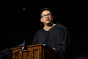 Alex Sheen delivers the keynote speech at undergraduate commencement. Photo by Ben Siegel