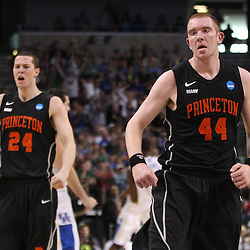 Mar 17, 2011; Tampa, FL, USA; Princeton Tigers center Brendan Connolly (44) reacts after hitting a shot during first half of the second round of the 2011 NCAA men's basketball tournament against the Kentucky Wildcats at the St. Pete Times Forum.  Mandatory Credit: Derick E. Hingle