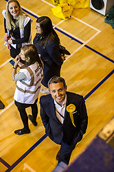 Pictured: Alex Cole-Hamilton, Lib-Dem MSP checks how the count is going<br /> The election count contiues as the clocks turn towards midnight.<br /> <br /> Ger Harley | EEm 8 June 2017