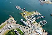 Nederland, Noord-Holland, Den Helder, 05-08-2014; centrum van Den Helder met veerhaven voor de veerboten naar Texel.<br /> Center of Den Helder with ferry port for ferries to Texel. <br /> luchtfoto (toeslag op standard tarieven);<br /> aerial photo (additional fee required);<br /> copyright foto/photo Siebe Swart