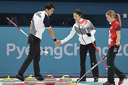 February 11, 2018 - Gangneung, GANGWON, SOUTH KOREA - Feb 11, 2018-Gangneung, South Korea-Lee Ki Jeong and Jang Hye Ji of South Korea action during the 2018 Pyeongchang Winter Olympic Curling Mix Double Session 7th D Korea v Canada at Curling Center in Gangneung, South Korea. (Credit Image: © Gmc via ZUMA Wire)