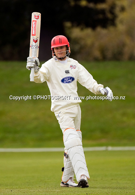 Canterbury batsmen Rob Nicol raises his bat for his fifty during play on the final day. Canterbury Wizards v Northern Knights, Plunket Shield Game held at Mainpower Oval, Rangiora, Thursday 07 April 2011. Photo : Joseph Johnson / photosport.co.nz