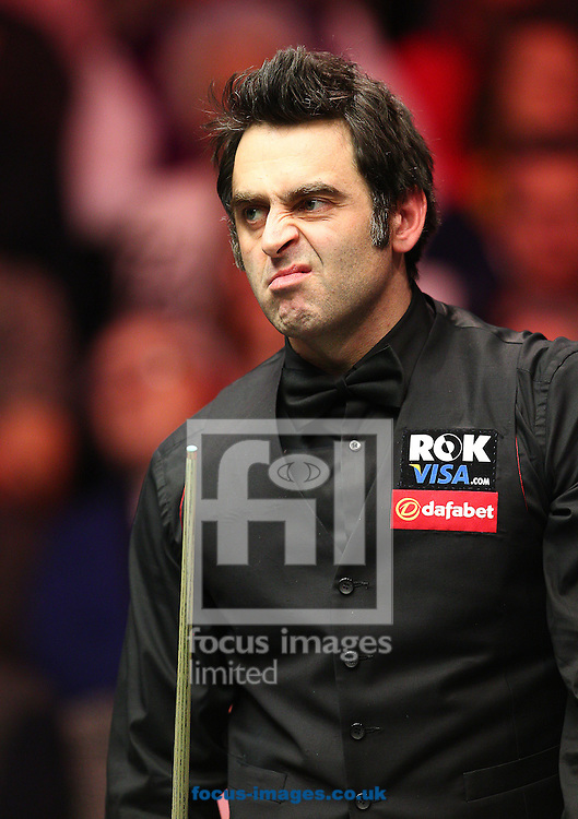 Picture by Paul Terry/Focus Images Ltd +44 7545 642257<br /> 19/01/2014<br /> Ronnie O'Sullivan reacts during The Masters final at Alexandra Palace, London.