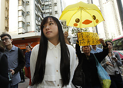 April 28, 2017 - Hong Kong, CHINA - Yau Wai-ching, a disqualified star lawmaker of the pro-Hong Kong independence political party YOUNGSPIRATION is seen on the street after leaving the court today charged with unlawful assembly and unlawful forced entry at LEGICO last November with her comrade Baggio Leung. 2017 Apr-28.Hong Kong.Zuma/Liau Chung Ren (Credit Image: © Liau Chung Ren via ZUMA Wire)