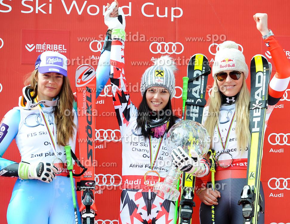 22.03.2015, Roc de Fer, Meribel, FRA, FIS Weltcup Ski Alpin, Meribel, am Podium für den Gesamtweltcup, im Bild Tina Maze (SLO, 2. Platz), Anna Fenninger (AUT, 1. Platz), Lindsey Vonn (USA, 3. Platz) // second placed Tina Maze of Slovenia, first placed Anna Fenninger of Austria, third placed Lindsey Vonn of United States during the overall winner Ceremony for the Overall FIS World Cup at the Roc de Fer in Meribel, France on 2015/03/22. EXPA Pictures © 2015, PhotoCredit: EXPA/ Erich Spiess