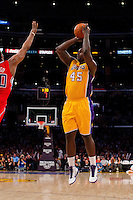 25 February 2011: Forward Derrick Caracter of the Los Angeles Lakers shoots the ball against the Los Angeles Clippers during the second half of the Lakers 108-95 victory over the Clippers at the STAPLES Center in Los Angeles, CA.