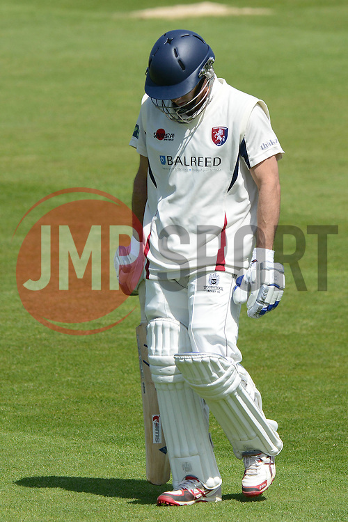 Brendan Nash of Kent cuts a dejected figure as he is caught out by Gareth Roderick of Gloucestershire from Liam Norwell's bowl - Photo mandatory by-line: Dougie Allward/JMP - Mobile: 07966 386802 - 21/05/2015 - SPORT - Cricket - Bristol - County Ground - Gloucestershire v Kent - LV=County Cricket