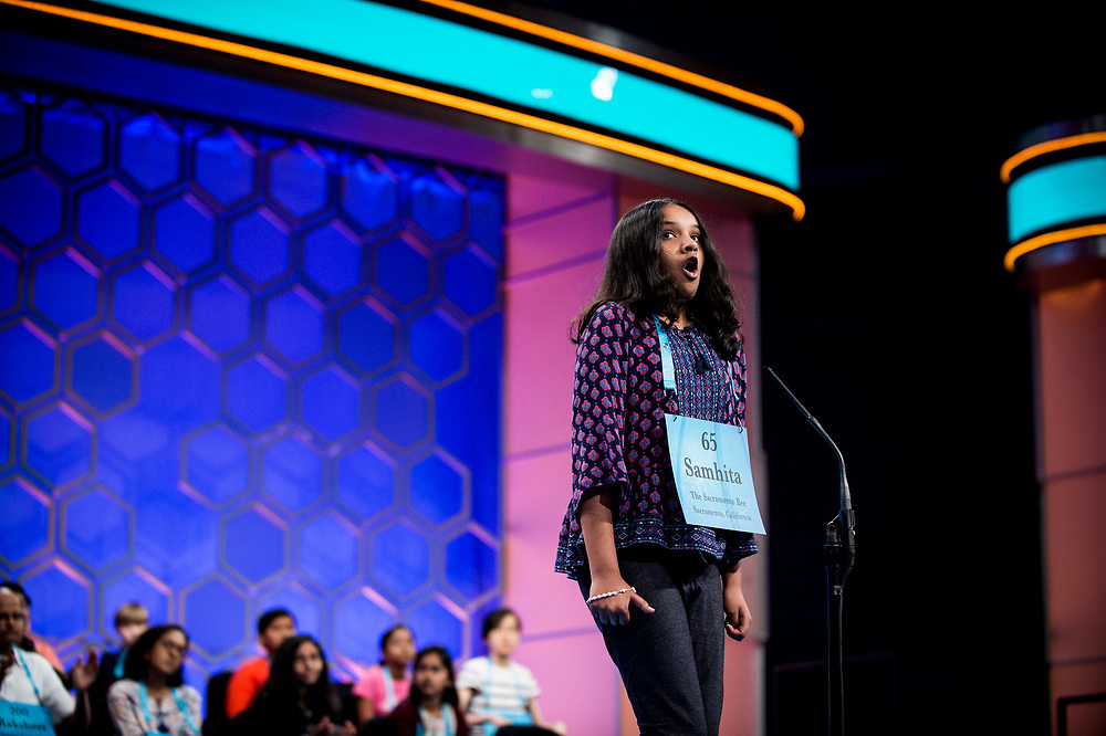 Samhita Kumar, 11, from Gold River, Calif., reacts after spelling her work correctly as she participates in the finals of the 2017 Scripps National Spelling Bee on Thursday, June 1, 2017 at the Gaylord National Resort and Convention Center at National Harbor in Oxon Hill, Md.      Photo by Pete Marovich/UPI