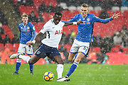 Tottenham Hotspur Midfielder Moussa Sissoko (17) and Rochdale Defender Mark Kitching (32) in action during the The FA Cup match between Tottenham Hotspur and Rochdale at Wembley Stadium, London, England on 28 February 2018. Picture by Stephen Wright.