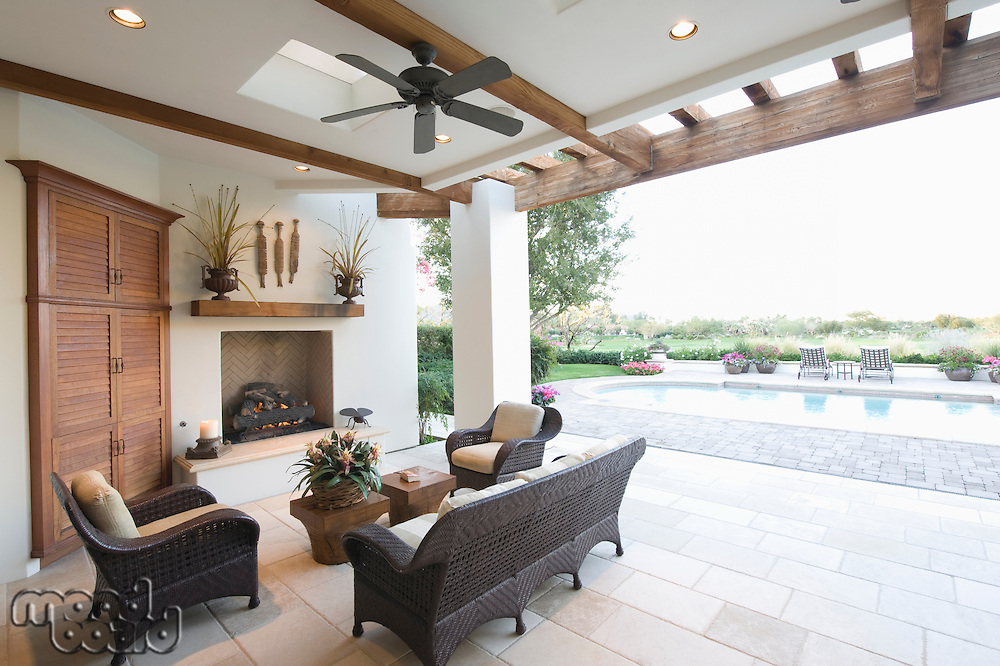 Beamed poolside outdoor room
