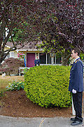 "Mountlake Terrace, Washington - July 13, 2015: King Adam I, background, has his brother Prince Aaron wait by the boundaries of Überstadt and the United States to escort the photographer into Rosewood, the micronation's capitol. <br /> <br /> The Kingdom of Überstadt is led by nineteen-year-old King Adam I, (Adam Oberstadt). The Barony of Rosewood -- the micronation's capitol and the Oberstadt family home -- is nestled in the Seattle suburb of Mountlake Terrace, Wash. <br /> Überstadt also claims territory of nearby Edmount Island on Lake Ballinger -- called The Barony of Ballinger and ""considered the spiritual homeland of the nation."" Both baronies reside within the Duchy of Edmount which ""is situated entirely within the boundaries of the city of Mountlake Terrace, Washington,"" according to the Überstadt website.<br /> Überstadt  was founded by King Adam I and his high school friends March 6, 2010, and was governed by judges as a kritarchy. Before taking the crown, Adam was Überstadt's chief judge. After graduation, many of the Überstadti moved away to college and Überstadt's populace shrank. Activities would shift from the high school to Rosewood, and the governing style morphed to a unitary constitutional monarchy. According to the micronation's website Überstadt is a sovereign state ""guided by the principles of direct democracy, socialist economics, and environmentalism."" <br /> <br /> CREDIT: Matt Roth"