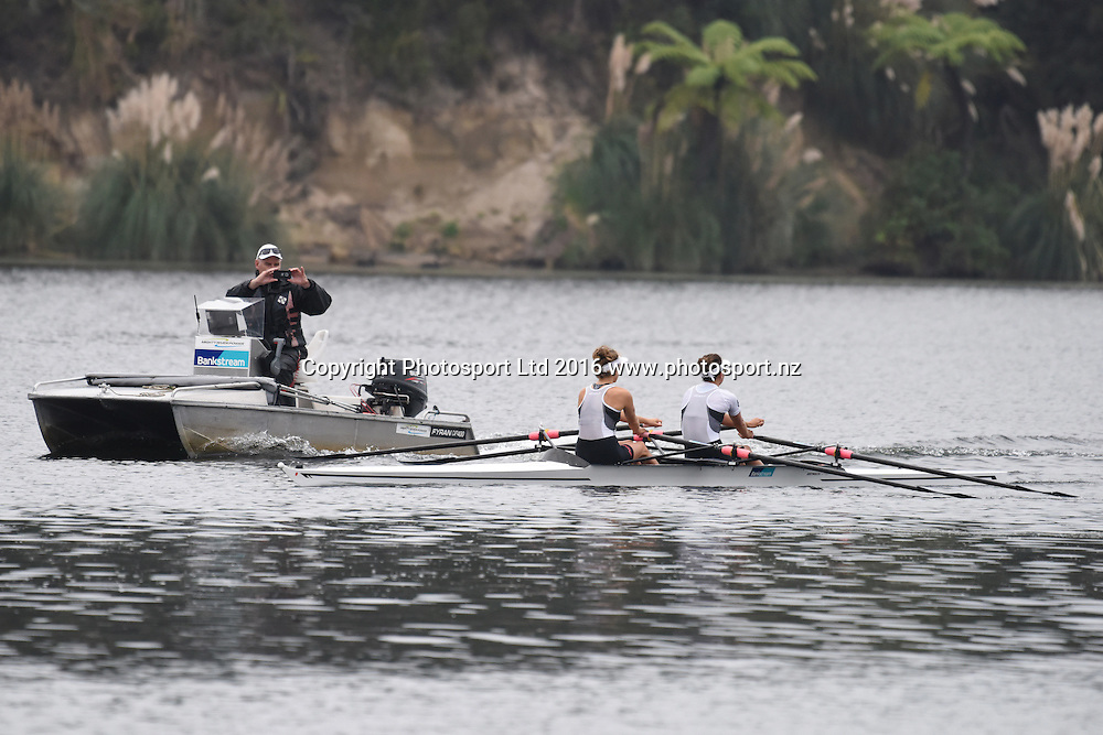 Julia Edwards and Sophie MacKenzie with coach Gary Hay at the Rowing NZ Media Day, Lake Karapiro, Cambridge, New Zealand, Wednesday 4th May 2016.<br /> Photo: Jeremy Ward / www.photosport.nz