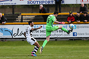 Forest Green Rovers Kaiyne Woolery(14) is beaten to the ball by Southport's goalkeeper Chris Cheetham(15) during the Vanarama National League match between Southport and Forest Green Rovers at the Merseyrail Community Stadium, Southport, United Kingdom on 17 April 2017. Photo by Shane Healey.