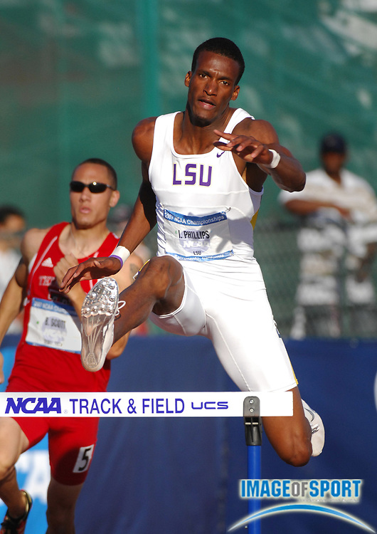 Isa Phillips of LSU wins 400-meter hurdle semifinal in 49.31in the NCAA Track & Field Championships at Sacamento State's Hornet Stadium in Sacramento, Calif. on Friday, June 8, 2007.