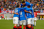 Rangers players surround Jermain Defoe in celebration following his 1st half goal during the Ladbrokes Scottish Premiership match between Hamilton Academical FC and Rangers at The Hope CBD Stadium, Hamilton, Scotland on 24 February 2019.
