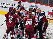 Dec. 3 2011; Glendale, AZ, USA; Philadelphia Flyers forward Brayden Schenn (10) and teammates get to a scuffle with the Phoenix Coyotes during the third period at Jobing.com Arena. The Flyers defeated the Coyotes 4-2. Mandatory Credit: Jennifer Stewart-US PRESSWIRE.