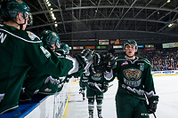 KELOWNA, CANADA - JANUARY 9:  Connor Dewar #43 of the Everett Silvertips fist bumps the bench to celebrate a goal against the Kelowna Rockets on January 9, 2019 at Prospera Place in Kelowna, British Columbia, Canada.  (Photo by Marissa Baecker/Shoot the Breeze)