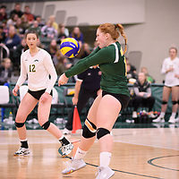 4th year libero  Taylor Ungar (13) of the Regina Cougars in action during Women's Volleyball home game on November 17 at Centre for Kinesiology, Health and Sport. Credit: Arthur Ward/Arthur Images