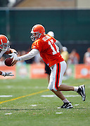 Cleveland Browns quarterback Jake Delhomme (17) hands off the ball during NFL football training camp at the Cleveland Browns Training Complex on Monday, August 9, 2010 in Berea, Ohio. (©Paul Anthony Spinelli)