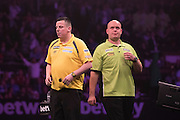 Dave Chisnall and Michael van Gerwen  at the Betway Premier League Darts,  Brighton Centre, Brighton & Hove, United Kingdom on 14 May 2015. Photo by Phil Duncan.