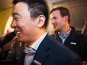 02 FEBRUARY 2020 - BOONE, IOWA: ANDREW YANG walks through the crowd after a campaign event in Boone, IA. More than 150 people crammed into a banquet room at La Carreta, a Mexican restaurant in Boone to see Andrew Yang on one of his last campaign events before the Iowa Caucuses. Yang, an entrepreneur, is running for the Democratic nomination for the US Presidency in 2020. He is in central Iowa finishing his 17 day bus tour across the state. Iowa hosts the the first election event of the presidential election cycle. The Iowa Caucuses will be on Feb. 3, 2020.        PHOTO BY JACK KURTZ