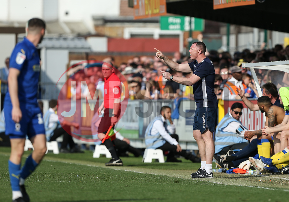 Bristol Rovers manager Graham Coughlan barks out instructions - Mandatory by-line: Arron Gent/JMP - 19/04/2019 - FOOTBALL - Cherry Red Records Stadium - Kingston upon Thames, England - AFC Wimbledon v Bristol Rovers - Sky Bet League One