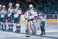 KELOWNA, CANADA - FEBRUARY 13: The Pepsi player lines up with the Kelowna Rockets against the Seattle Thunderbirds on February 13, 2017 at Prospera Place in Kelowna, British Columbia, Canada.  (Photo by Marissa Baecker/Shoot the Breeze)  *** Local Caption ***