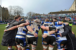 The Bath Rugby team huddle together after the match - Photo mandatory by-line: Patrick Khachfe/JMP - Mobile: 07966 386802 25/01/2015 - SPORT - RUGBY UNION - Bath - The Recreation Ground - Bath Rugby v Glasgow Warriors - European Rugby Champions Cup