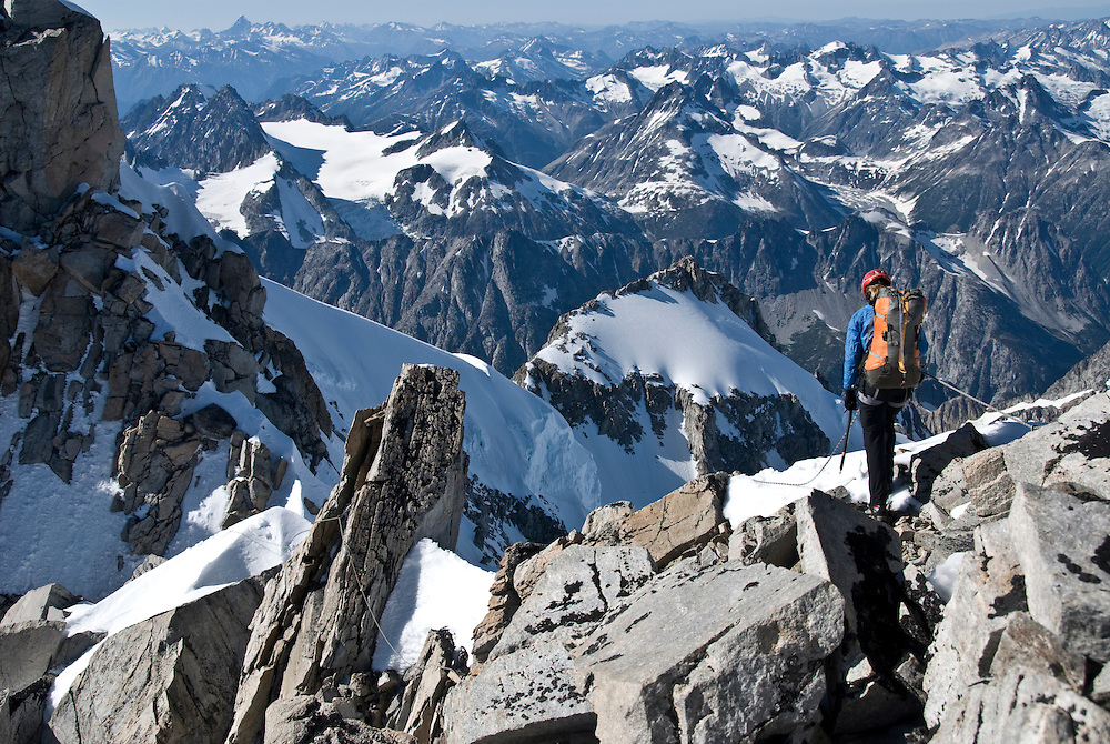 Kate Rutherford, Mt. Tiedemann (ED2 1600m 5.11) Waddington Range, BC,