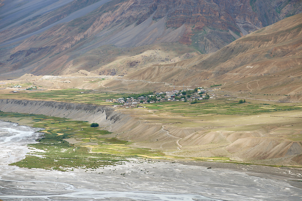 View of Spiti Valley from roof top of Key Monastery
