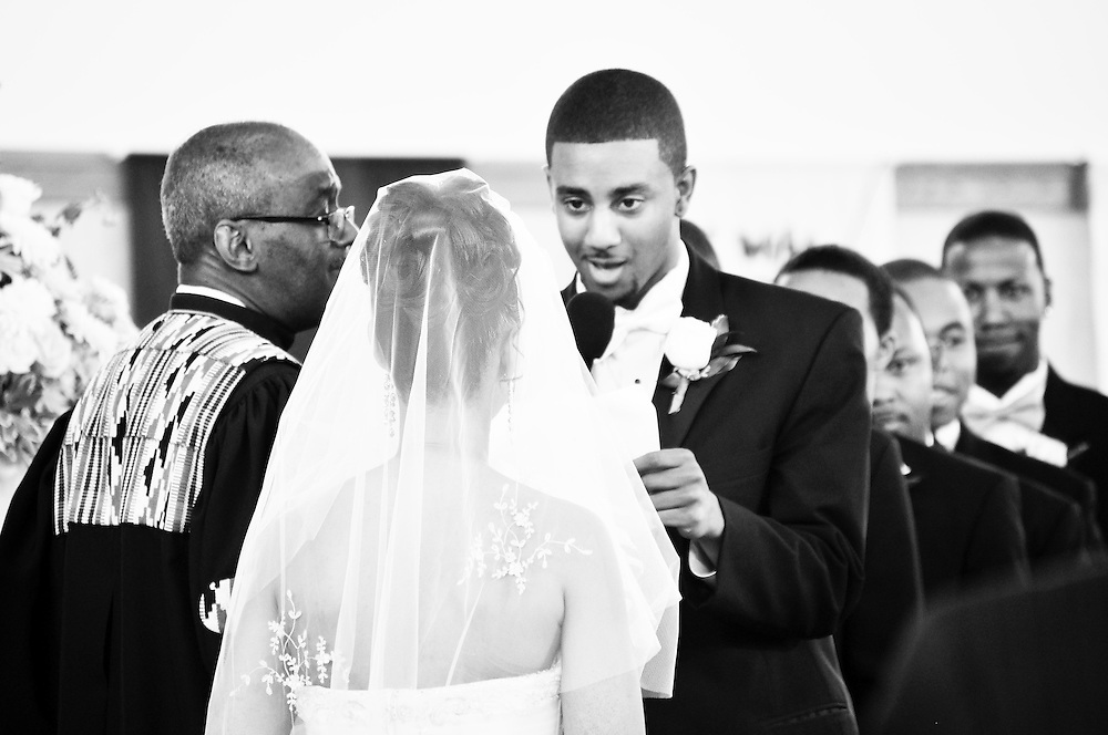 Ernest recites his heartfelt vows to Cassie at Covenant United Church of Christ in South Holland, IL