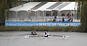 Cambridge, USA, Lightweight men's Fours,  move down the course approacing the Cambridge BC and Elliott Bridge, during the  2009 Head of the Charles  Sunday  18/10/2009  [Mandatory Credit Peter Spurrier Intersport Images],.