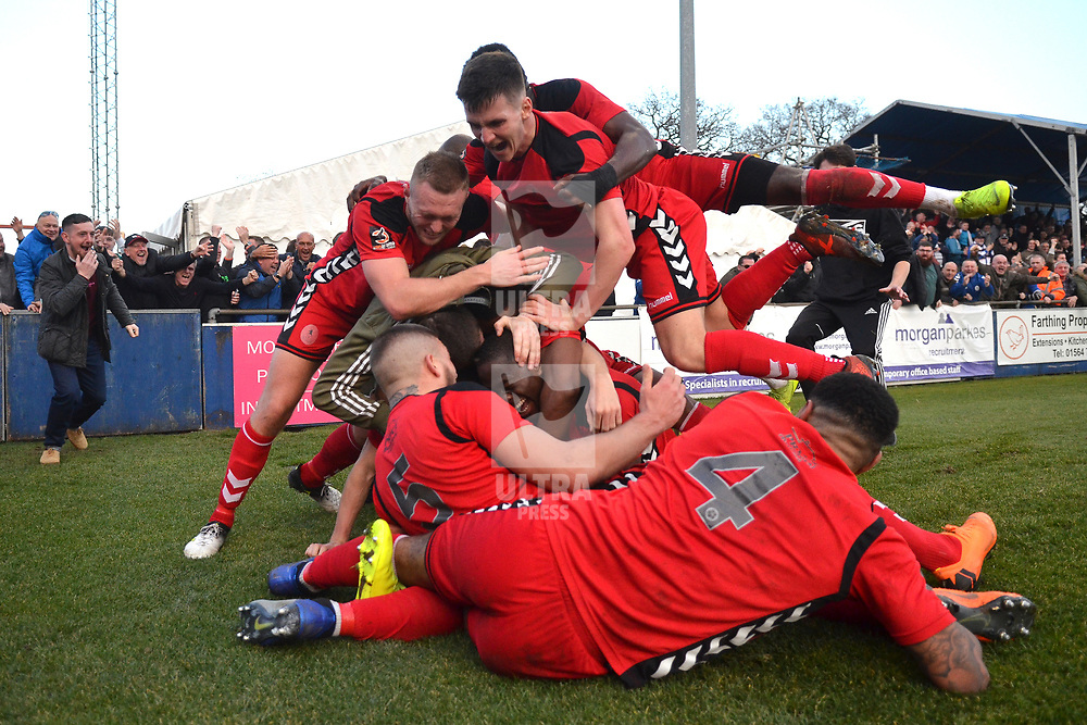 TELFORD COPYRIGHT MIKE SHERIDAN 23/2/2019 - GOAL. Telford players celebrate after Dan Udoh of AFC Telford scores in the dying moments to make it 2-1 during the FA Trophy quarter final fixture between Solihull Moors and AFC Telford United at the Automated Technology Group Stadium