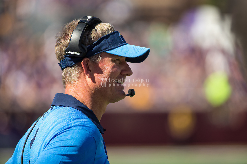 Sep 27, 2015; Minneapolis, MN, USA; San Diego Chargers head coach Mike McCoy looks on during the second quarter against the Minnesota Vikings at TCF Bank Stadium. The Vikings defeated the Chargers 31-14. Mandatory Credit: Brace Hemmelgarn-USA TODAY Sports