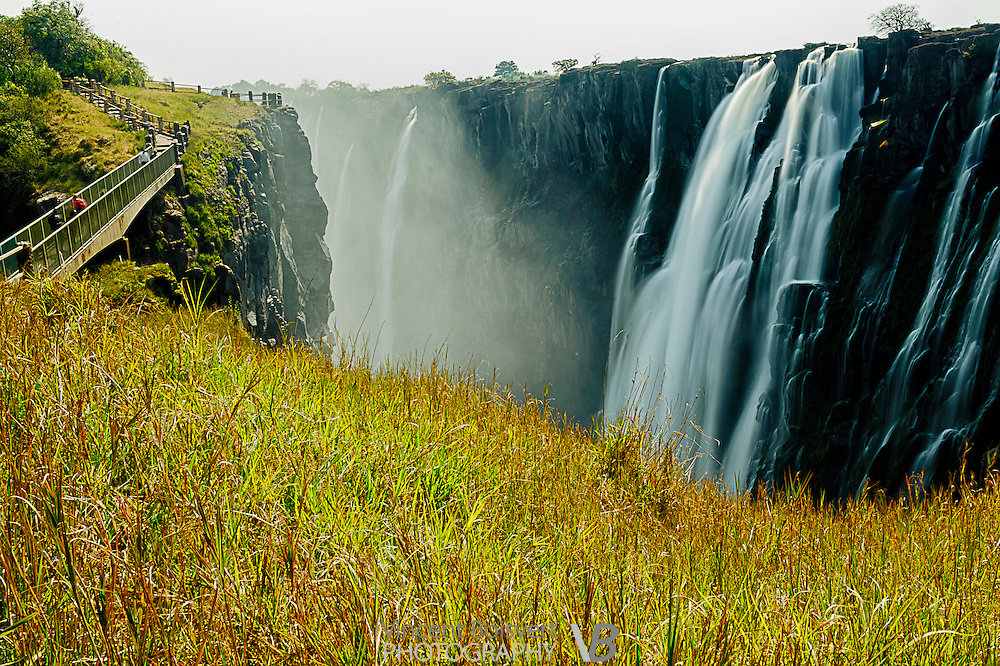a ground level view of victoria falls within Mosi-oa-Tunya national park, zambia