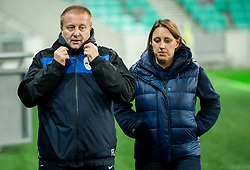 Stane Kokalj and Tina Turkl of NZS during practice session of Team Slovenia 1 day before UEFA Nations League match against Norway, on November 15, 2018 in SRC Stozice, Ljubljana, Slovenia. Photo by Vid Ponikvar / Sportida