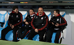 MARSEILLE, FRANCE - Tuesday, December 11, 2007: Liverpool's manager Rafael Benitez with L-R goalkeeping coach Xavi Valero, first team coach Alex Miller and fitness coach Paco de Miguel before the final UEFA Champions League Group A match against Olympique de Marseille at the Stade Velodrome. (Photo by David Rawcliffe/Propaganda)