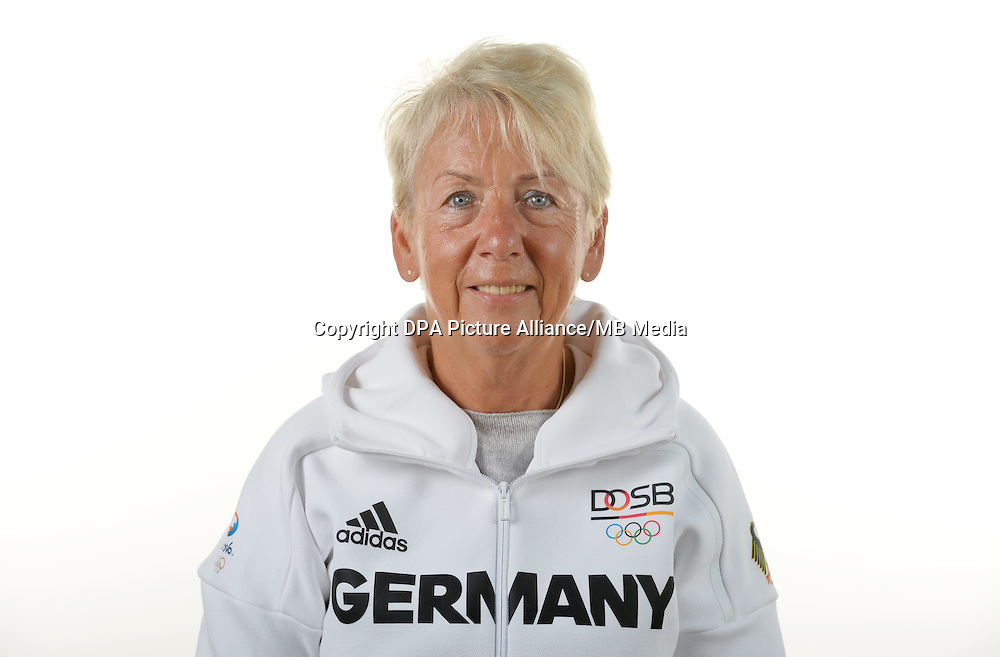 Sabine Krüger poses at a photocall during the preparations for the Olympic Games in Rio at the Emmich Cambrai Barracks in Hanover, Germany. July 07, 2016. Photo credit: Frank May/ picture alliance. | usage worldwide