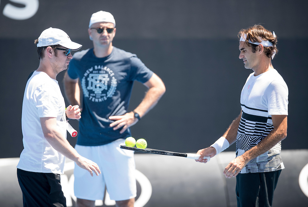 Roger Federer of Switzerland practices ahead of the 2017 Australian Open at Melbourne Park on January 12, 2017 in Melbourne, Australia.<br /> (Ben Solomon/Tennis Australia)