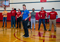 Surprise visit by Recycled Percussion to Laconia Middle School.    Karen Bobotas for the Laconia Daily Sun