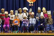 "Middletown, New York - Preschool and pre-K students perform in a ""YMCA Thanksgiving Day Spectacular"" on the stage at the Center for Youth Programs on Nov. 27, 2013."