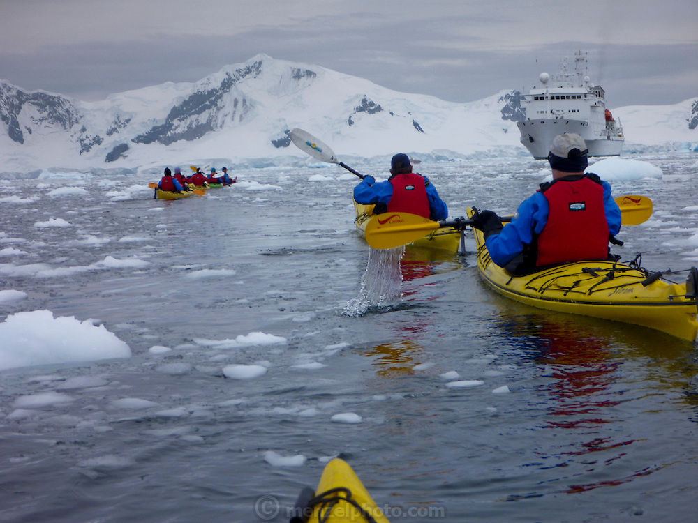 Kayaking in Antarctica off the Scandinavian-built ice-breaker Akademik Sergey Vavilov, originally built for the Russian Academy of Science and still used occasionally by scientists, is now predominantly used for adventure touring in both the Arctic and the Antarctic. The ship is currently operated by a Russian crew, and staffed with employees of the adventure touring company Quark Expeditions, and carries around 100 passengers at a time. Skontorp Cove.