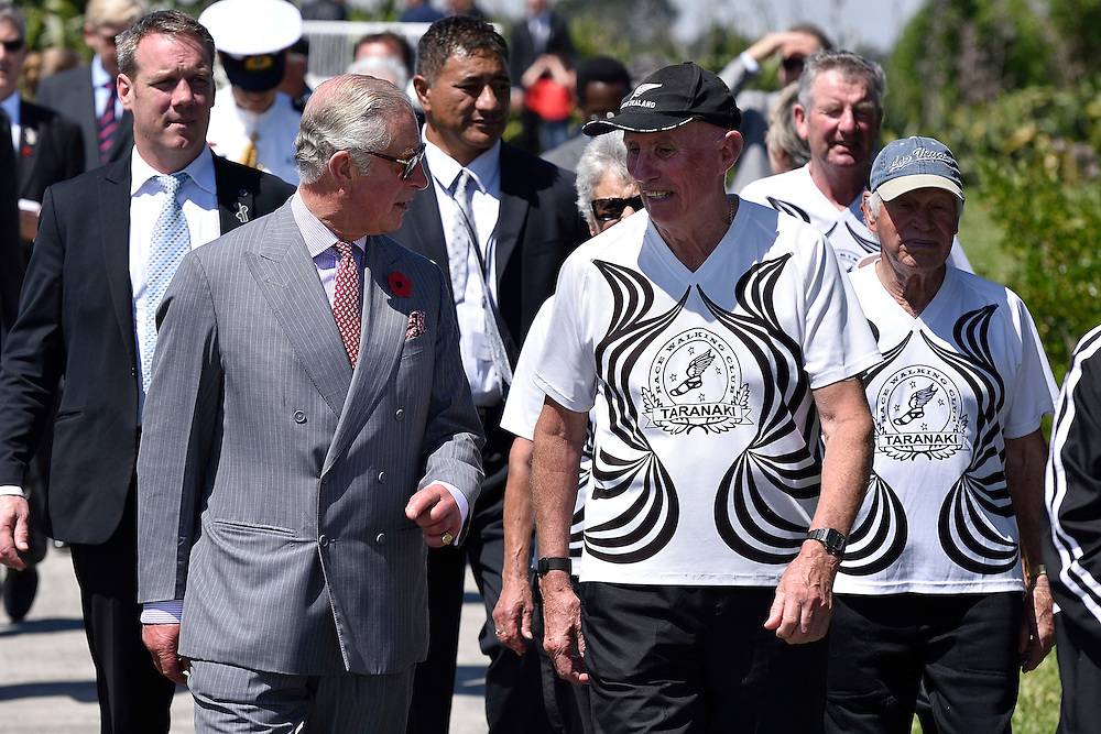 Prince Charles, Prince of Wales, walks with local walking group members during a visit to the Te Rewa Rewa bridge on the coastal walkway, New Plymouth, New Zealand, New Zealand, Monday, November 09, 2015. Credit:SNPA / AFP, Marty Melville  **POOL**