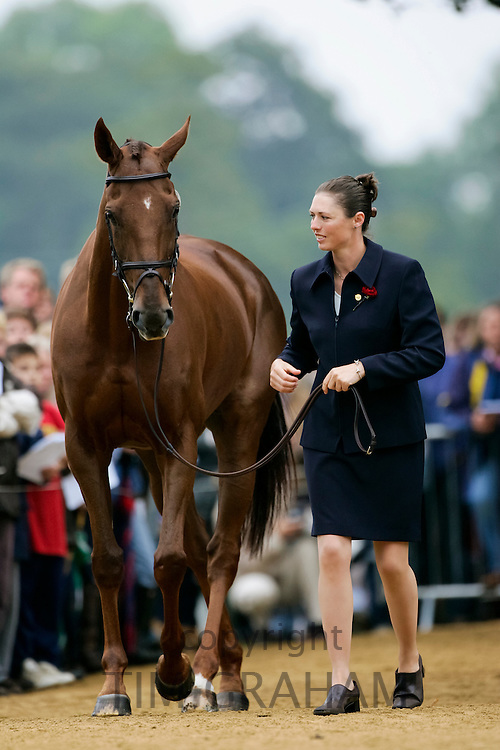 British Olympic rider Jeanette Brakewell and horse ?Over To You? at vet inspection for Blenheim FEI European Eventing Championship, UK