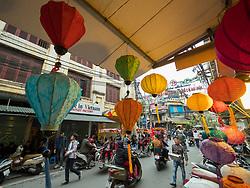 Asia, Vietnam, Hanoi, old quarter. Paper lanterns for sale.