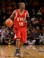 Virginia Military forward Ron Burks (15) in action against UVA.  The Virginia Cavaliers defeated the Virginia Military Institute Keydets 107-97 in NCAA Basketball at the John Paul Jones Arena on the Grounds of the University of Virginia in Charlottesville, VA on November 16, 2008.