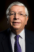 David Stern during the Naismith Memorial 2014 Basketball Hall of Fame Class Announcement at the Omni Hotel in Dallas, Texas on April 7, 2014. (Cooper Neill)