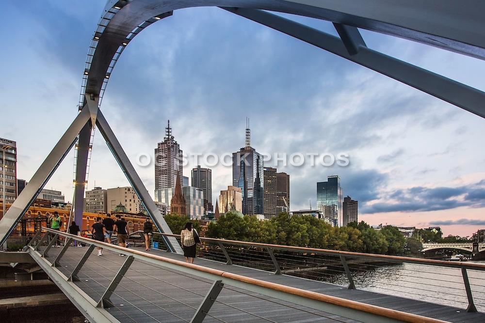 Southgate Footbridge and Melbourne Skyline