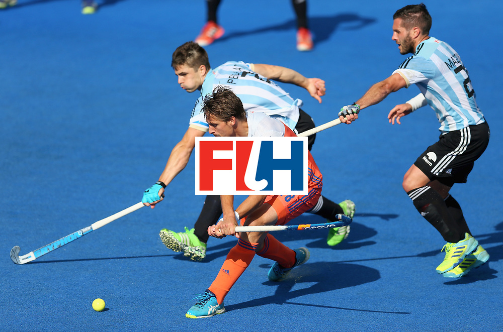 LONDON, ENGLAND - JUNE 25: Bjorn Kellerman of the Netherlands attempts a reverse shot during the final match between Argentina and the Netherlands on day nine of the Hero Hockey World League Semi-Final at Lee Valley Hockey and Tennis Centre on June 25, 2017 in London, England. (Photo by Steve Bardens/Getty Images)