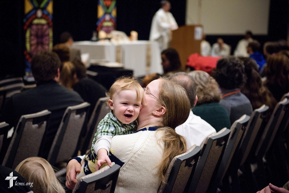 Bethanie Westgate kisses her son Samuel during worship on Friday, Jan. 27, 2017, in Arlington, Va. LCMS Communications/Erik M. Lunsford